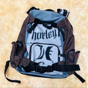 HURLEY gray and brown logo backpack travel bag
